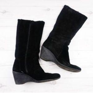 Black Suede Zip Knee Boots Rubber Wedge Heel